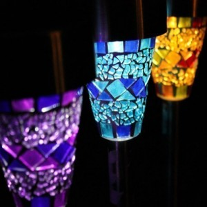 Solar Mosaic Border Garden Post Lights (6 Pack)