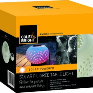 Colour Changing LED Garden Solar Filigree Table Light